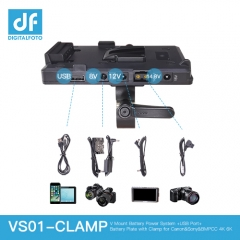 V Mount Battery Power System+USB Port+Battery Plate with Clamp for Canon Sony BMPCC 4K 6K
